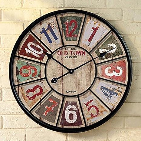 CHLWW Silencio Continental Salón Grande Reloj De Pared Elegante Y Relojes Creativos Arte Mediterráneo Nouveau-Table Hierro14Pulgada: Amazon.es: Hogar