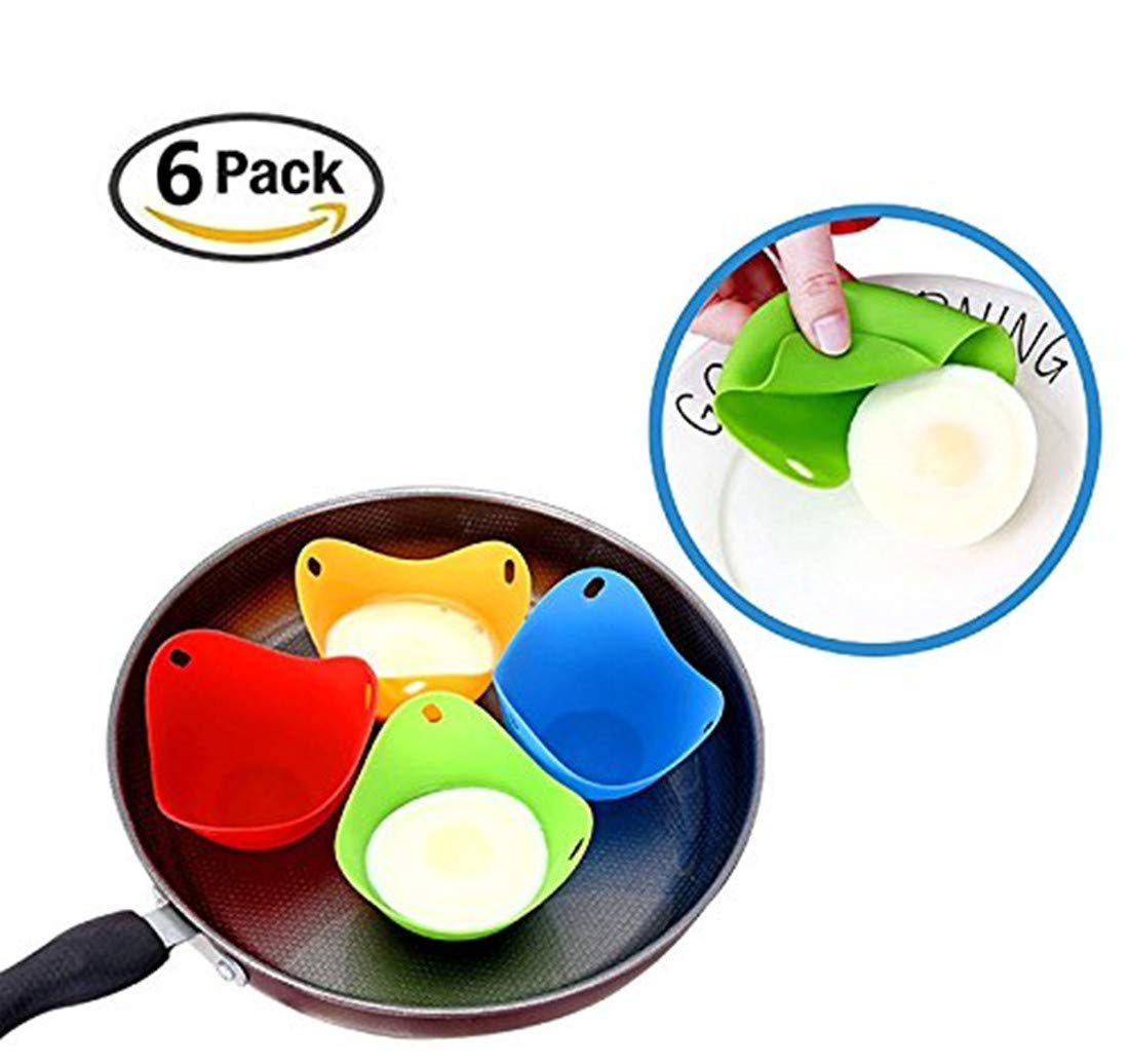 Silicone Egg Poacher Cups - Set of 6 Cooking Perfect Poached Eggs - Microwave Or Stovetop Egg Cooker (Random Color) A-cool