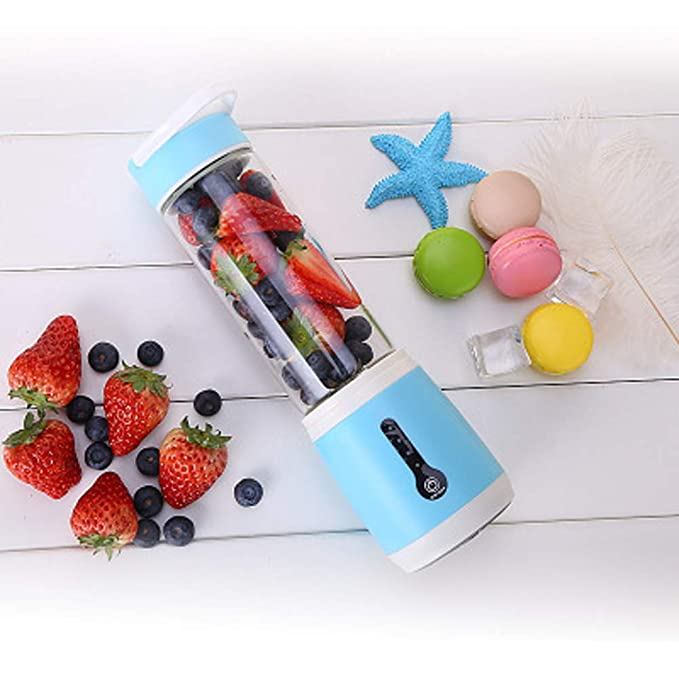 WGFGXQ USB Charging Portable Juicer, Suitable Outdoor, Work, Fitness So On,Seablue,6Leaves
