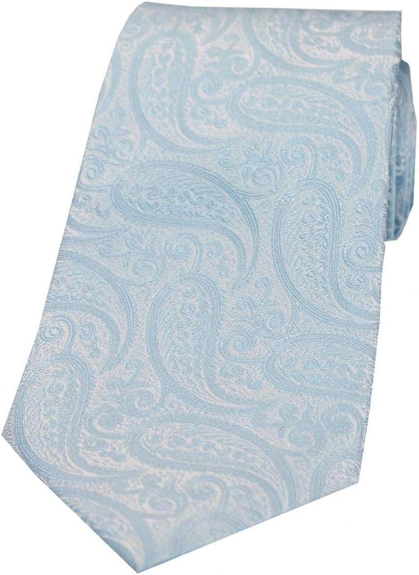 David Van Hagen Mens Classic Paisley Silk Tie Sky Blue
