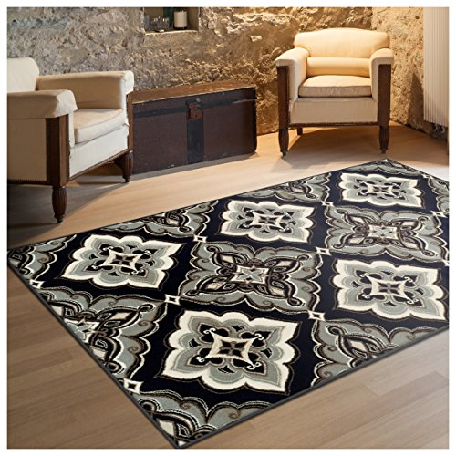 Black Transitional Rug (Superior Crawford Collection Area Rug, 8mm Pile Height with Jute Backing, Gorgeous Mediterranean Tile Pattern, Fashionable and Affordable Woven Rugs - 5' x 8' Rug, Black)