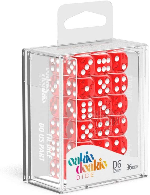 Red Oakie Doakie Dice D6 12 mm Translucent 36