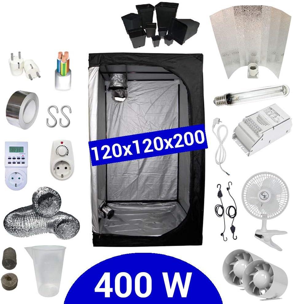 Supacrop Kit de Cultivo Interior 400W SHP Stuko - Armario 120x120x200 - Balastro ETI 1