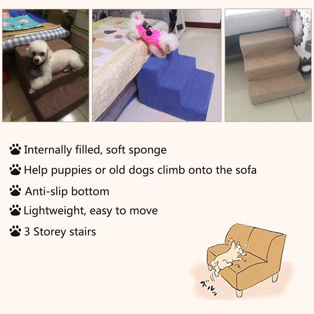 Amazon.com : Jiyaru 3 Steps Pet Stairs for Dog Cat Anti-Slip ...
