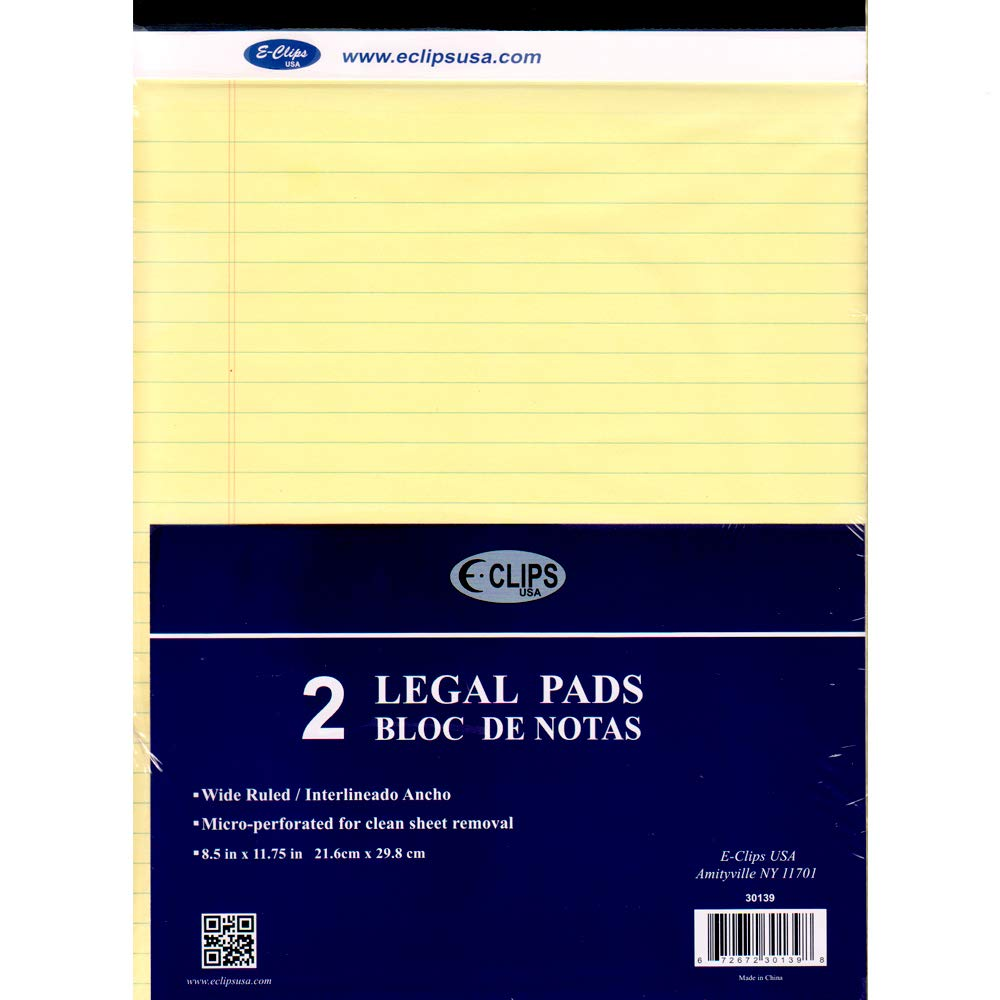 Legal Pad, 8.5''x 11'', 2pk, 50 sheets each, Canary, Case Pack of 30, Ideal for Bulk Buyers