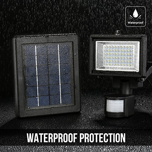 LE Outdoor Solar Flood Lights, Motion Sensor Light, Waterproof, High Output 60 LED, Solar Security Light, Wall Light, Solar Rechargeable Floodlight, ...