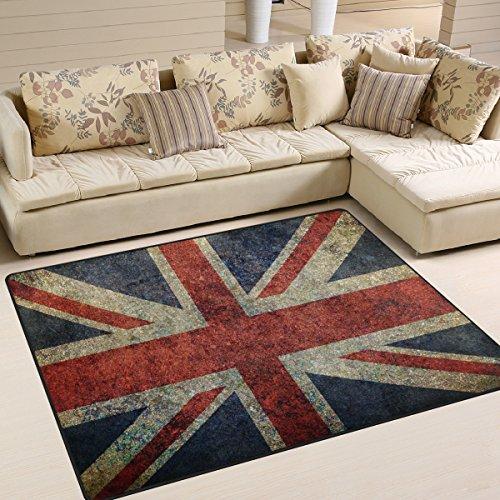 - ALAZA Shabby UK Flag Union Jack Area Rug Rugs for Living Room Bedroom 5'3 x 4'