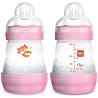 MAM Easy Start Anti-Colic Bottle 5 oz (2-Count), Baby Essentials, Slow Flow Bottles with Silicone Nipple, Baby Bottles…