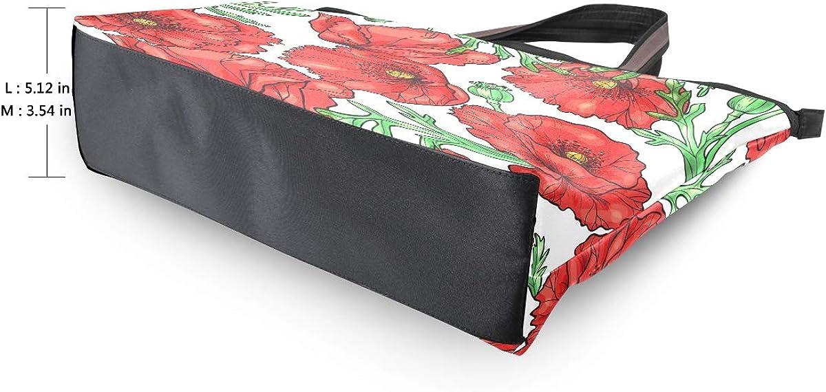 Large Tote Bag Tropical Poppy Flower Shoulder Bag for Gym Hiking Picnic Travel Beach Bag
