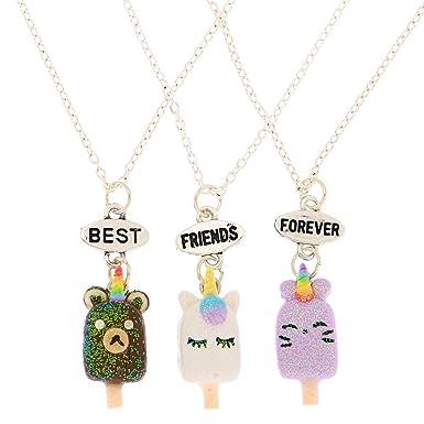 profiter de la livraison gratuite nouveaux produits chauds charme de coût Claire's - Femmes Lot de 3 colliers best friends à pendentif ...
