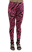 Vivian's Fashions Long Leggings - Pink Zebra (Junior and Junior Plus Sizes)