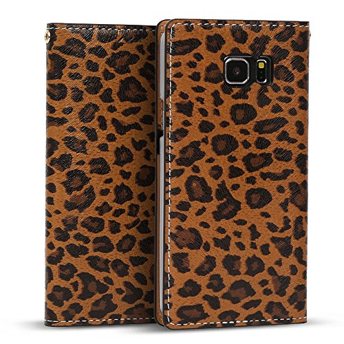 Cashmere Womans Snap Wallet (Galaxy Note 5 Case, DesignSkin [Classic Basic] [Genuine Leather] [Handcrafted] Flip Folio Wallet Case w/ Card Holder Cash Slot Cover Strap Hole for Galaxy Note 5 - Leopard)