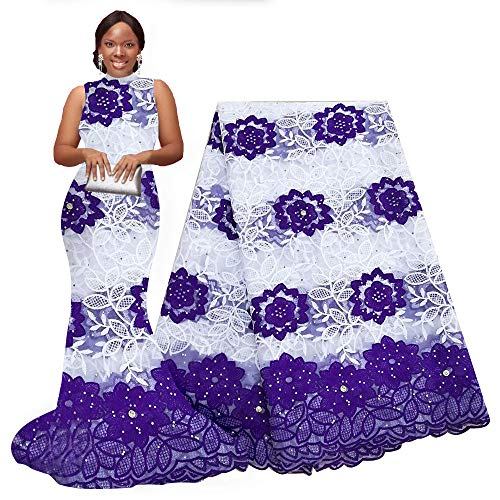 pqdaysun African Lace Fabric Milk Silk Nigerian French Lace Net Fabric Embroidered Fabric for Wedding Party F50752 (Purple, 5 Yards)