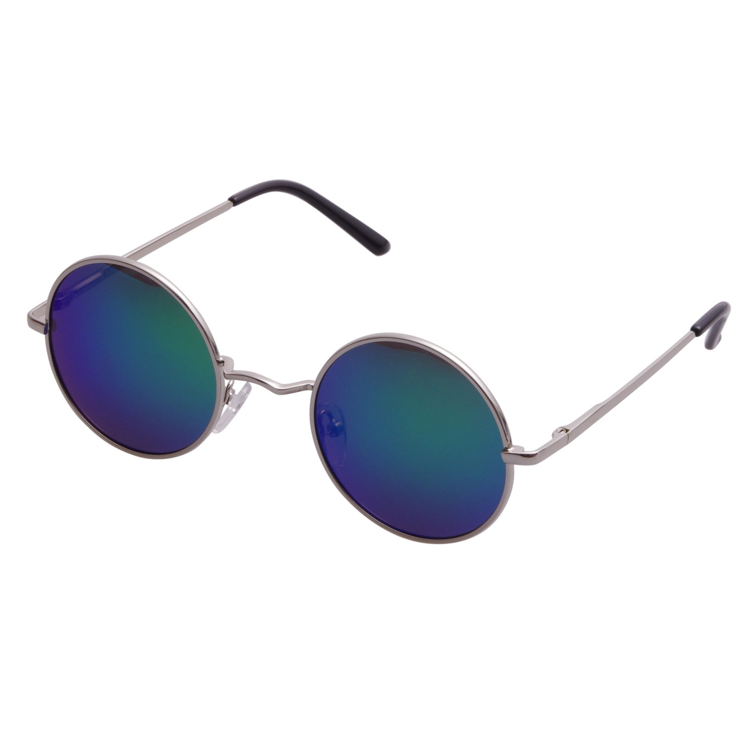ddd3d0abb3 Amazon.com  Aoron Vintage Round Sunglasses with Polarized Mirrored Lenses  for Retro Women and Men (Green-blue Mirrored