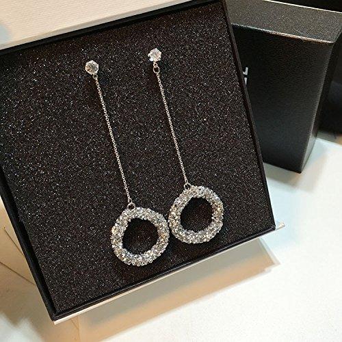 - HJPRT 2018 fashion korean beautiful high-end crystal earrings earings dangler eardrop long classic zircon diamond circle creative creative personality earrings women girls (silver