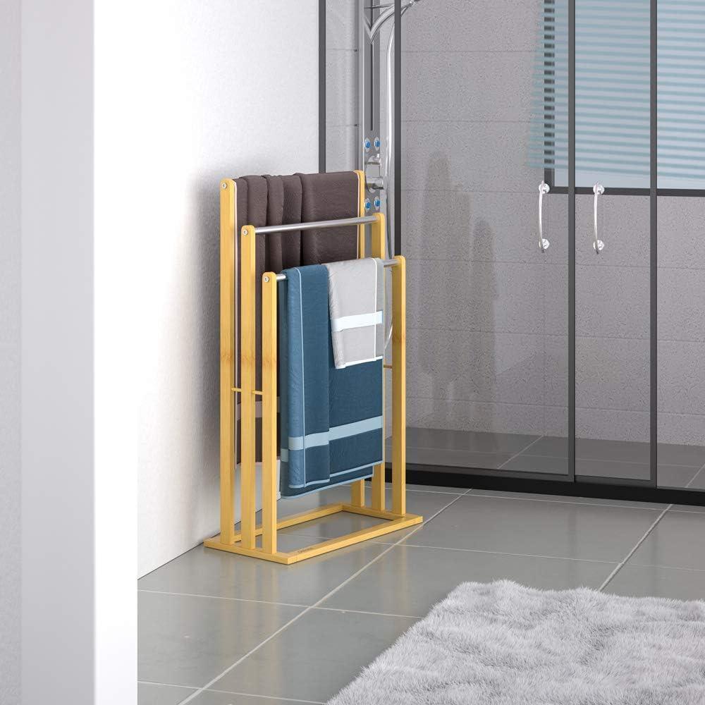 Casaria Handtuchhalter Bambus 3 Edelstahlstangen treppenf/örmig Handtuchst/änder Handtuchstange freistehend Badezimmer
