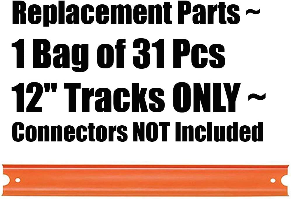 Hot Wheels Track Builder Car /& Mega Track Pack ~ FTL69 ~ Replacement Parts ~ 1 Bag of 12 Orange Tracks 31 Pieces ONLY ~ Connectors NOT Included