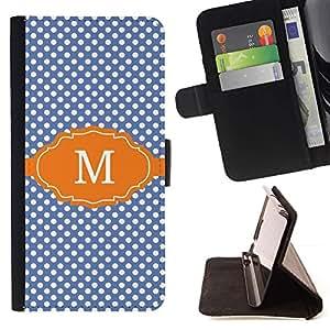 Momo Phone Case / Flip Funda de Cuero Case Cover - Lunares Azul Nombre Inicial - LG G4