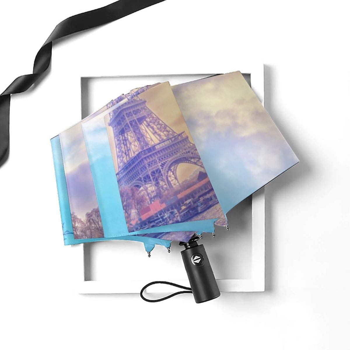 Pattonef Eiffel Tower At Sunset In Paris Romantic Travel Compact Travel Umbrella Windproof Reinforced Canopy 8 Ribs Umbrella Auto Open And Close Button Customized