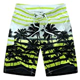 Tailor Pal Love Swim Trunks for Boys Volley Swim Strip Short Comfort Boardshort Swimwear with Coconut Tree Print Green 5X Large