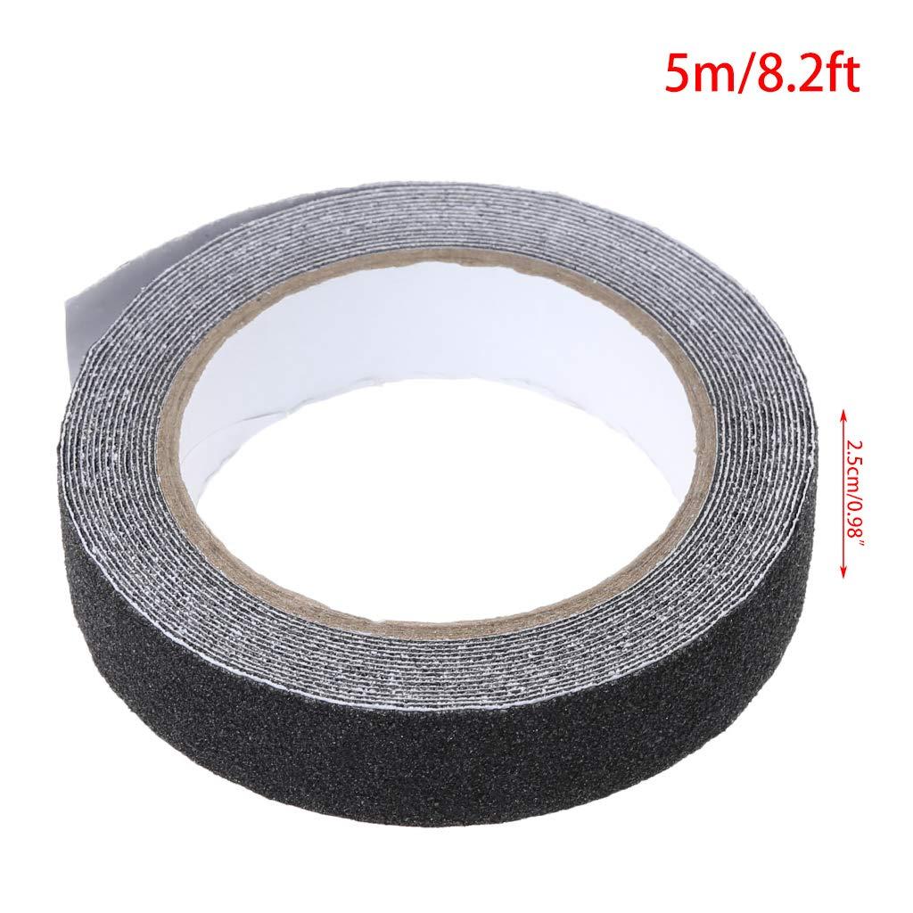 Zhoujinf-2.5 cm x 500 cm rollo de seguridad de piso de cinta adhesiva antideslizante de alto agarre negro y amarillo gris
