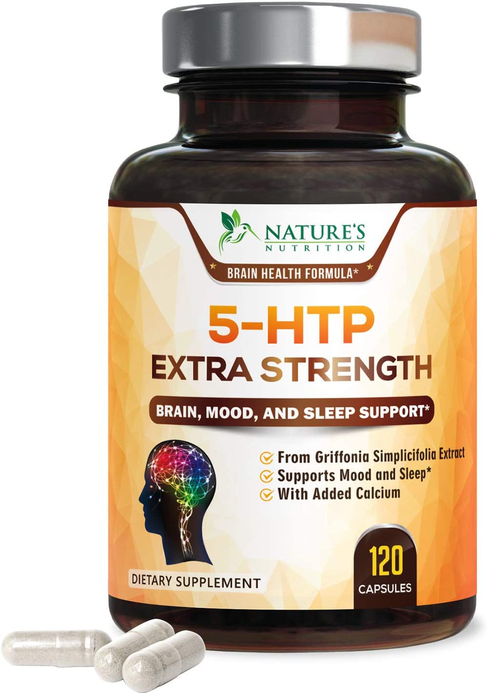 5-HTP 200mg Capsules - Extra Strength Serotonin Support for Sleep & Stress, Made in USA, Best 5-Hydroxytryptophan Supplement for Men and Women, Supports Positive Mood - 120 Caps