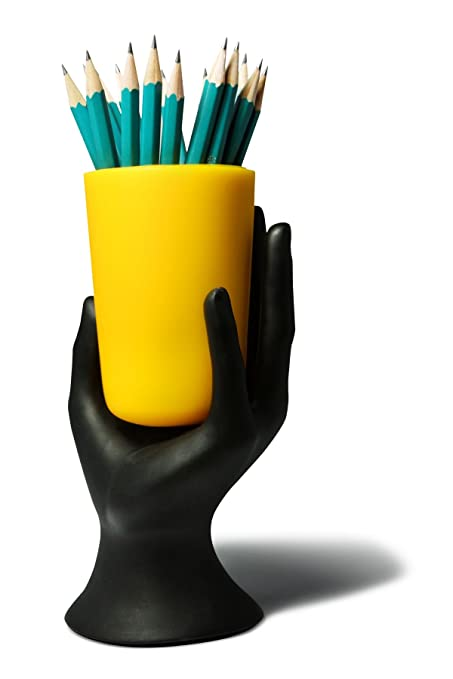 HAND CUP PEN / PENCIL HOLDER by Arad (Black/Yellow)