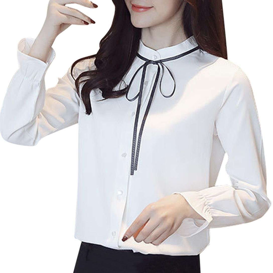 vermers Clearance Women Chiffon Shirts on Sale - Women Lace-up Solid Long Sleeve Floral Work Bow Tie Shirt Top Blouse(XL, White)