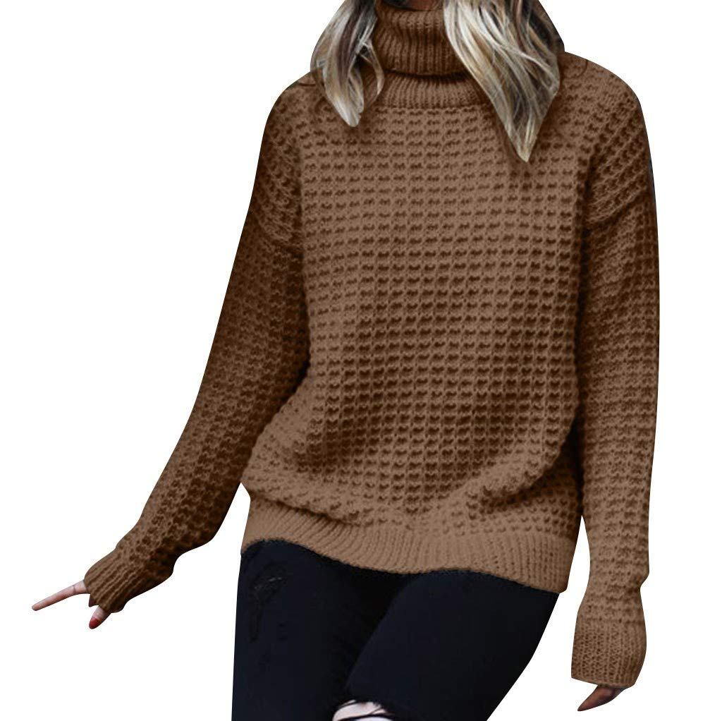 SPORTTIN Women's Knitting Turtleneck Pullover Casual Solid Long Sleeve High Collar Sweater(Khaki,X-Large by SPORTTIN