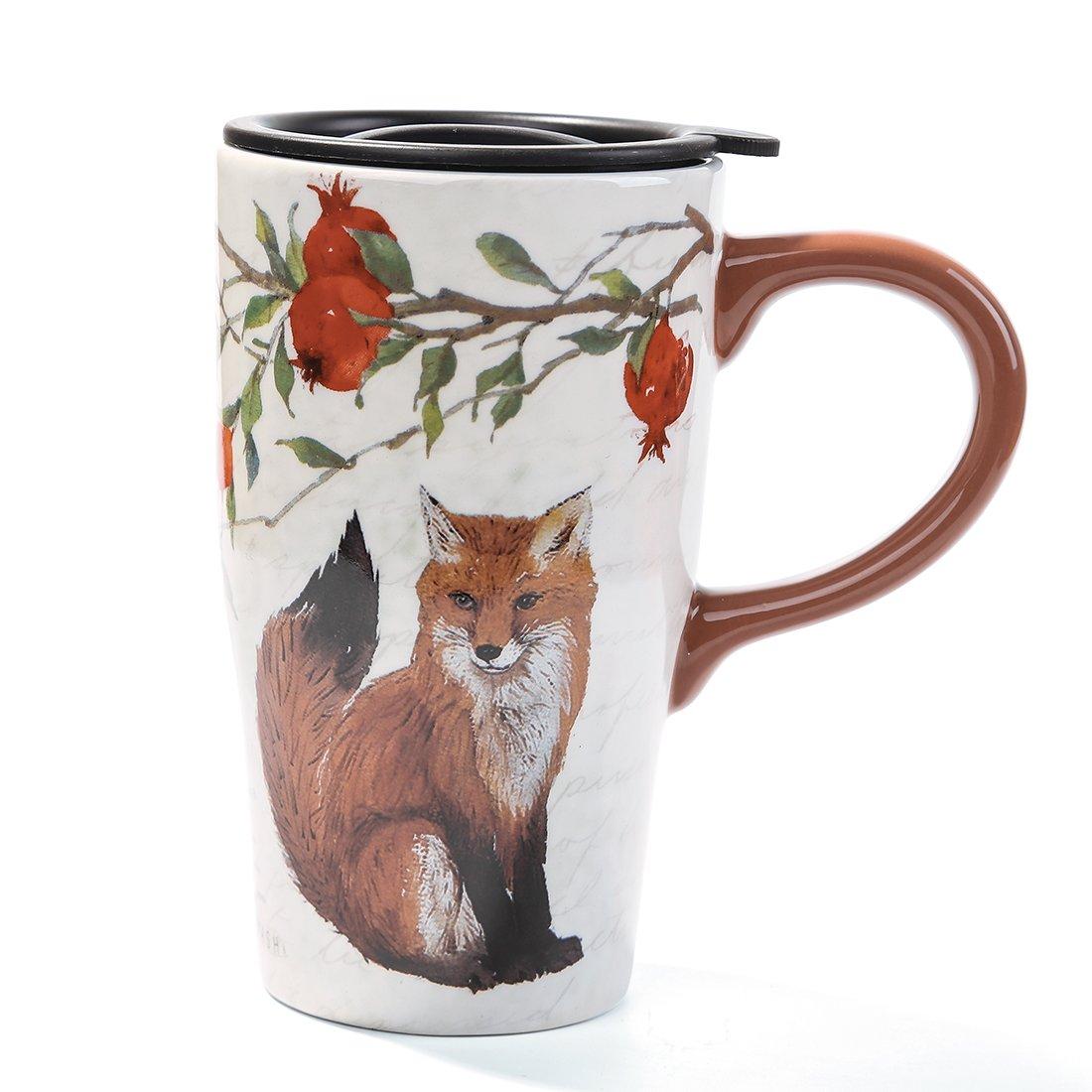 Minigift Ceramic Travel Coffee Mug 17oz (11 Designs for choice-Fox)
