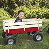 Wood Wagon ALL Terrain Pulling Red w/ Wood Railing Children Kid Garden Cart For Sale