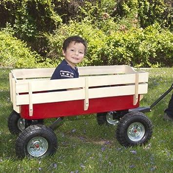 Wood Wagon ALL Terrain Pulling Red w Wood Railing Children Kid Garden Cart