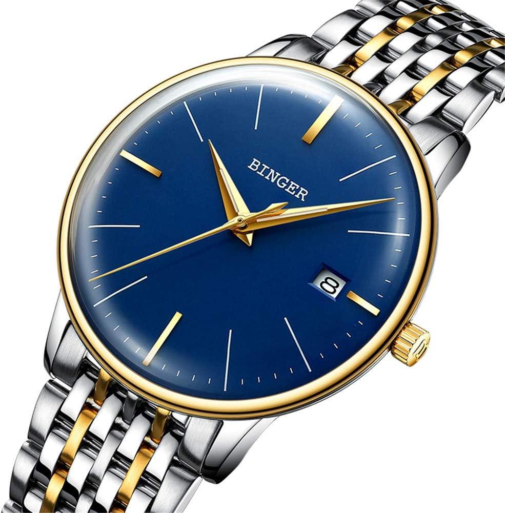BINGER Reloj Automático Suiza Movimiento Zafiro de Japon Reloj mecánico Hombre Correa de Acero Inoxidable con Espejo Gris,Calendario 5078,F