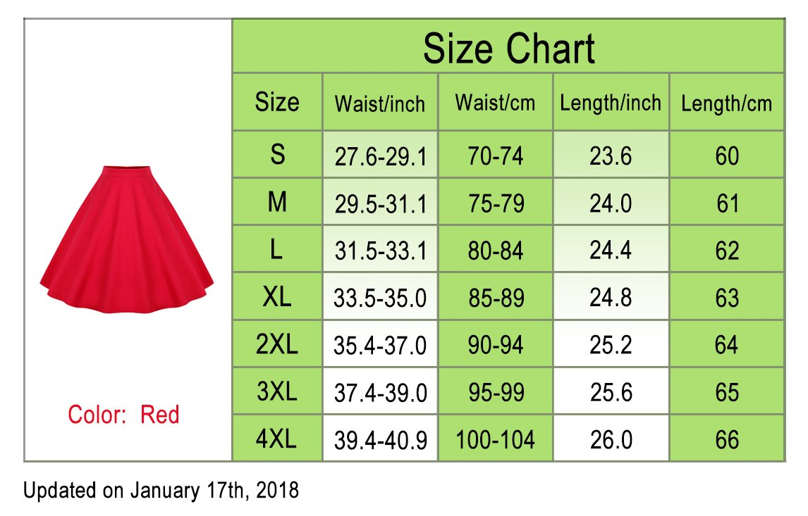 Killreal Women's High Waisted Flared Vintage Skirt for Christmas Party Red X-Large by Killreal (Image #4)