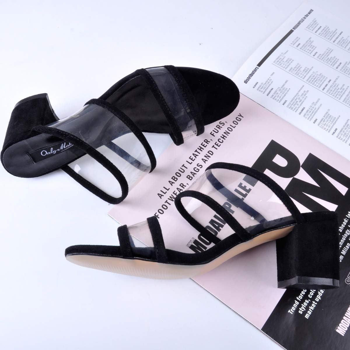 Onlymaker Womens PVC Clear Double Straps Block Heel Slide Sandals Open Toe Slip on Mule Dress Slippers Summer Shoes