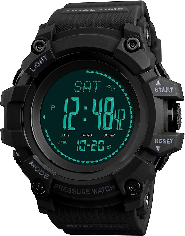 Reloj para Hombre, brújula, altímetro, barómetro, termómetro, Digital, para Deportes al Aire Libre, Fitness, podómetro, rastreador de Actividad, para Hombres, ejército Militar