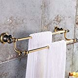 HOMEE Copper Dark Golden European Bathroom Towel Rack Retro Toilet Rack,A