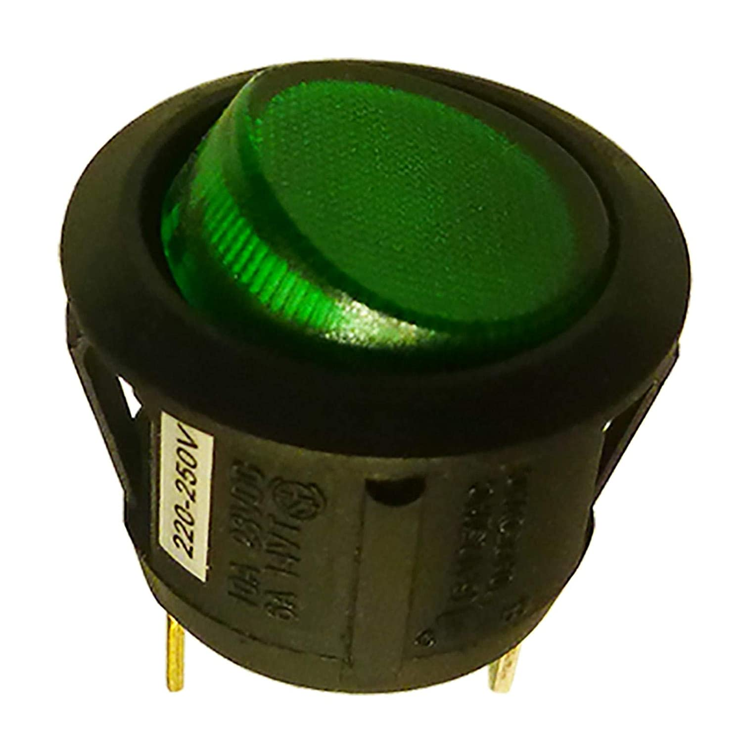 Round Illuminated SPST Latching Rocker Switch With 230V AC Green Neon Light Cut out:D:20mm SCI