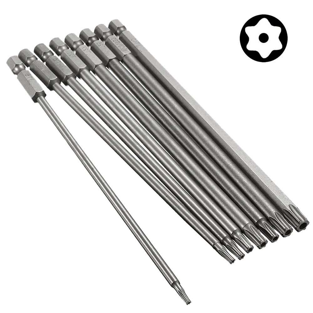 Bestgle 8pcs 1/4 Inch Hex Shank Torx Screwdriver Bits Magnetic Star Torx Electric Security Head Screw driver Drill Bits Set, T8-T40, 150mm Length
