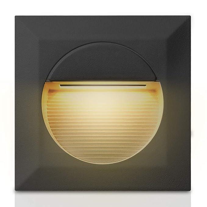 Lumière LED Spot Encastré, 2W Lumière D'escalier, Led Applique Murale Exterieur IP65 Étanche pour Jardin/Cuisine/Patio/Escalier (Carré)