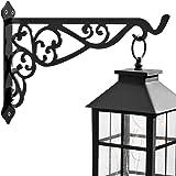 APBFH 14in Hanging Plant Bracket Outdoor Decorative Iron Plant Lantern Birdfeeder Wall Hanger Hook for Hanging Metal Sign Fru