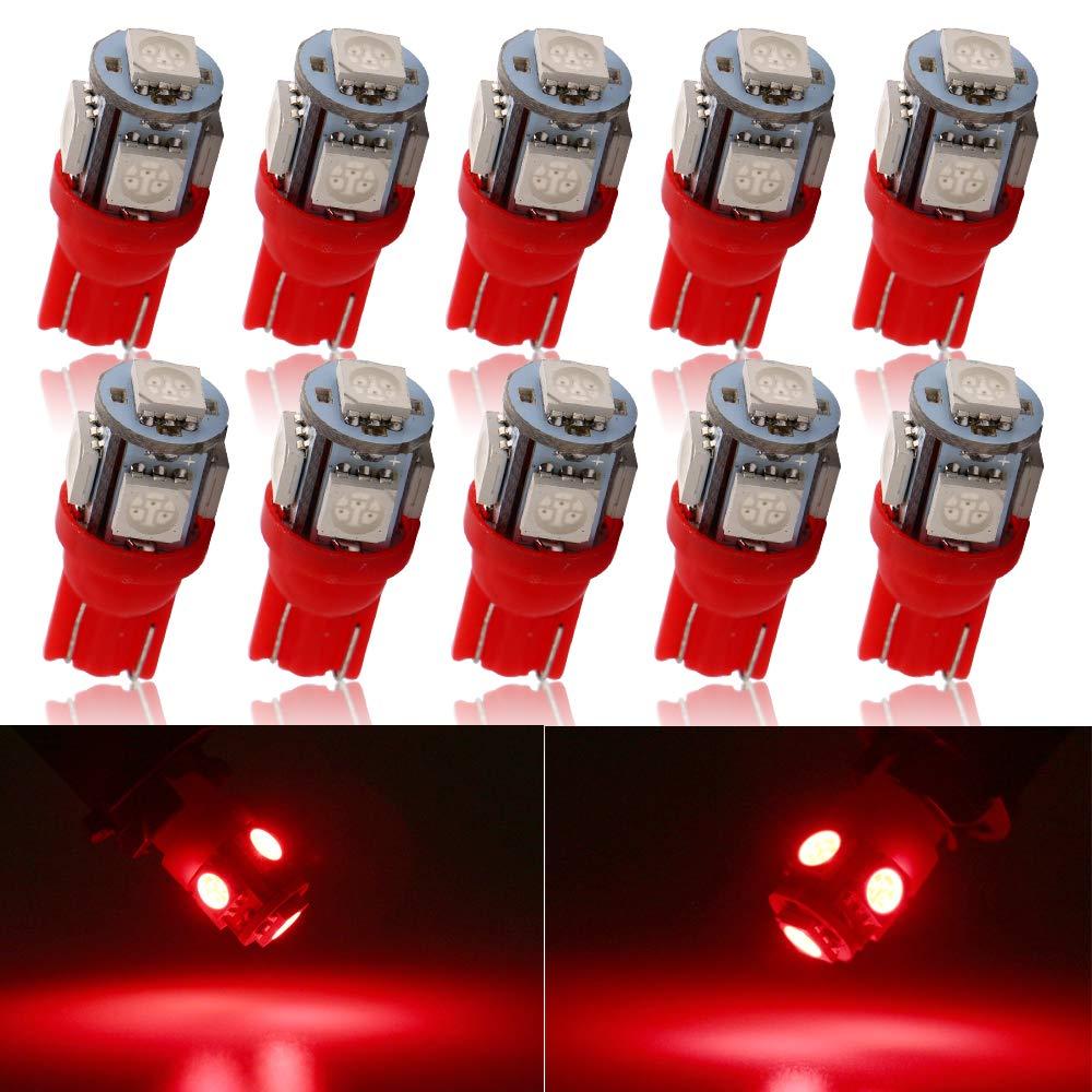 plaque de num/¨/¦ro 12 V Grandview 10-Pack T10 501 W5W 194 168 Rose 5-SMD 5050 LED int/¨/¦rieur de la voiture tableau de bord Boot Ampoules
