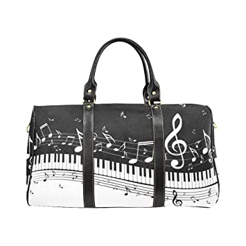 Music Note Piano Keyboard Large Travel Duffel Bag Waterproof Weekend Bag  with Strap 659a2504495