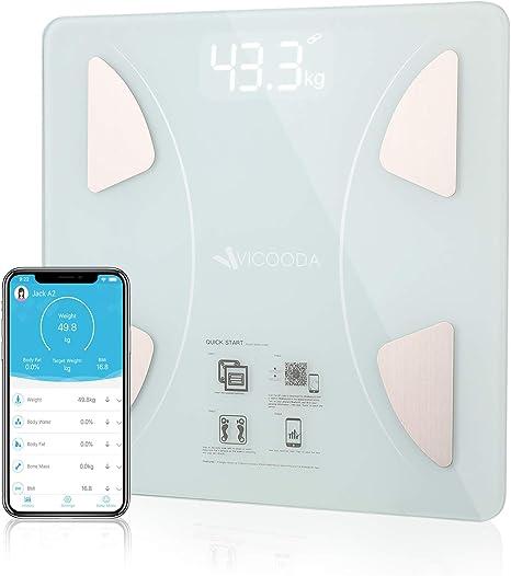 Amazon.com: Báscula de grasa corporal, Bluetooth inteligente ...