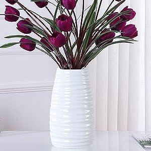 8.66 Inch Ceramic Modern Vase for Home Decor,Decorative Vases for Mantel, Living Room, Kitchen, Bedroom Decoration, Vase White Color