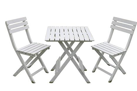 Set Bistro de jardín Dover de madera blanca - Mesa de ...