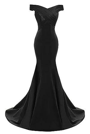 Dingzan Vintage Off Shoulder Mermaid Satin Bridesmaid Dresses For