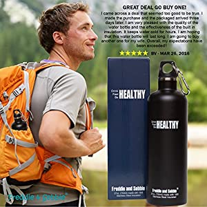 Freddie and Sebbie Stainless Steel Water Bottle, Vacuum Insulated Water Bottle Metal, Double Walled Stainless Steel Sports Water Bottle, BPA Free, Keeps Your Drink Hot & Cold, 27oz