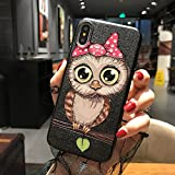 BONTOUJOUR iPhone 7 case iPhone 8 Cover Case Super Cute Cartoon Animal Pattern Soft TPU Bumper Hard PC Back Cover for Girls 360 Degree Protection (Pink nighowl, iPhone 7/8)