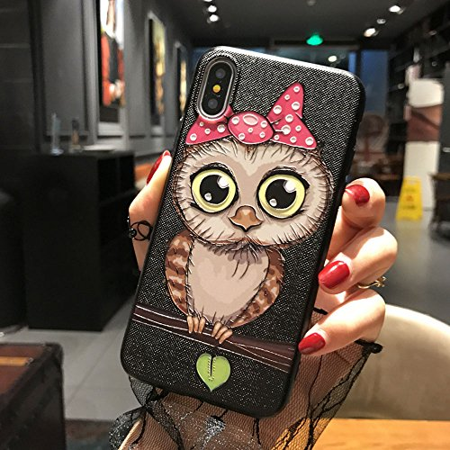 BONTOUJOUR iPhone 7 Plus case iPhone 8 Plus Cover Case Super Cute Cartoon Animal Pattern Soft TPU Bumper Hard PC Back Cover for Girls 360 Degree Protection (Pink nighowl, iPhone 7plus /8plus)